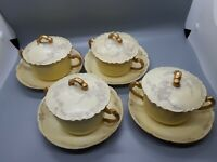 Antique Limoges Boulion Cups, Saucers And Lids.  S/5