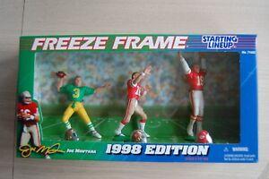 1998 JOE MONTANA Notre Dame+SF 49ers+KC Chiefs 3-figure SLU set Freeze Frame MIB