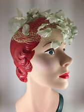 Vintage 1950s Womens Hat Green Wired Flowers Leaves Silk Netting Base Excellent!