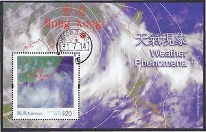 HONG KONG CHINA 2014 WEATHER PHENOMENA (TYPHOON) HOLOGRAM SHEET 1 STAMP USED