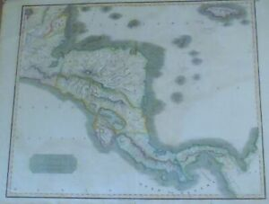 1816 CENTRAL AMERICA for Thomson's New General Atlas #59 COLOR COPPERPLATE MAP