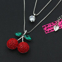 Betsey Johnson Red Crystal Cherry CZ Charm Double Pendant Sweater Chain Necklace