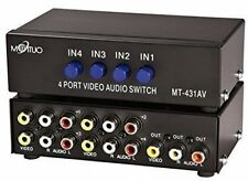 E-SDS 4-Way AV Switch RCA Switcher 4 In 1 Out Composite Video L/R Audio Box For