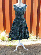 Swing Dress - Size Small - Black with Flowers Full Skirt Rockabilly Square Dance