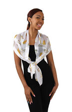 White fashion Satin Feel Scarf w/Praying Hands & Cross over Bible. 13 X 60.