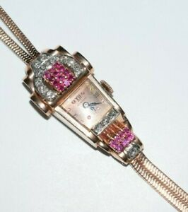 Retro Art Deco Lucien Picard 14K Pink Gold Rubies Diamonds Watch Bracelet c.1940