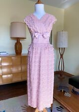 50s DuBarry Dress Tiered Floral Lace 1950s Vintage Cocktail Party Gown Satin Bow