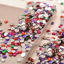2000pcs Flat Back Nail Art Rhinestones Glitter Diamond Gems 3D Tips DIY Decor