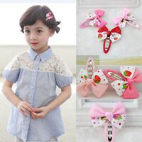 New Charming Ribbon Bow Kids Strawberry Satin Bowknot Hairpin Hair AccessoriesWG
