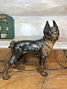 ANTIQUE RIGHT FACING HUBLEY BOSTON TERRIER CAST IRON DOG DOORSTOP ORIGINAL PAINT