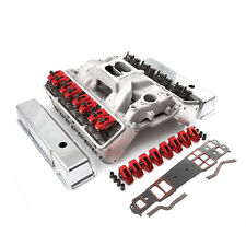 Chevy SBC 350 Straight Plug Solid FT CNC Cylinder Head Top End Engine Combo Kit