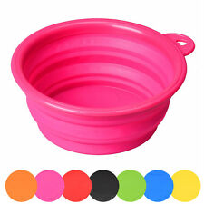 Portable Dog Cat Pet Silicone Collapsible Travel Feeding Bowl Water Dish Feeder