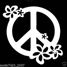 WINDOW TRUCK CAR PEACE SIGN WITH FLOWERS VINYL DECAL STICKER