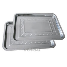 """2 PCS Stainless Steel Tray 14"""" x 10.2"""",Work Station Prep,Tattoo Medical Supplies"""