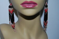 Chic Boho Red/Black/Gold Native Rug style beaded delica seed 5 inch earrings