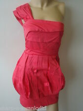 ☆ BNWT NEW Ladies Pink Single Shoulder Fitted Mini Party Dress UK 8 EU 36 ☆