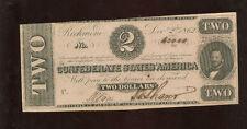 Confederate Currency $2 1862 T-54 Richmond Virginia Au