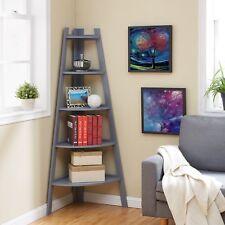 Gray Five-Tier Corner Wooden Ladder Display Bookshelf Unit-Danya B™