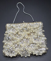 BRADLEES Clear Flower Silver Bead Beaded Sequin Clutch Purse Handbag Vintage