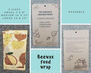 3 X Reusable Bees wax Food Wraps - Lemons | biodegradable | Zero waste