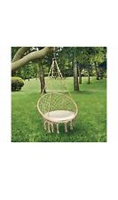 Hammock Chair Swing Boho Style Hanging Chair Indoor/Outdoor With Cushion