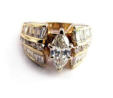 Estate 2.7CT Diamond Engagement Ring 0.88CT Marquise Solitaire 14K yellow Gold