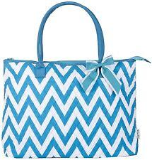 NEW BLUE CHEVRON SHOPPING BAG TOTE TRAVEL LUGGAGE HANDBAG CARRY ON OVER NIGHT