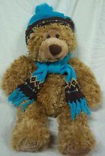 Big Mary Meyer SOFT TAN TEDDY BEAR W/ KNIT HAT & SCARF Plush Stuffed Animal