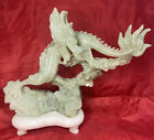 Antique Large Chinese Nephrite Hand Carved Green Jade Dragon Sculpture Statue