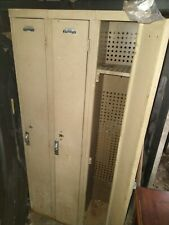 Metal Locker Storage Cabinet Cupboard With 3 Compartments Office School Gym