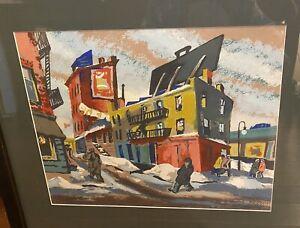 "Abram Tromka Phillips WPA ASHCAN SCHOOL 1930s SERIGRAPH  ""Greenwich Village"" NYC"