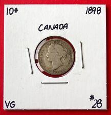 1898 Canada 10 Cent Silver Coin Dime - $28 VG