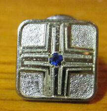 Glass Tie Tack for Lapel True Vtg Estate Tiny Faux Blue