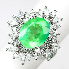 EMERALD GREEN OVAL 5.90 CT. SAPPHIRE 925 STERLING SILVER RING SZ 6 GIFT WOMEN