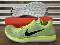 Nike Free RN Flyknit Running Shoes Pure Platinum Volt Black SZ ( 831069-006 )