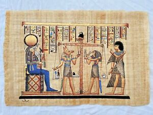 """Egyptian Papyrus Paper Hand Painting Judgement Horus Anubis Scribe 25""""X17"""""""