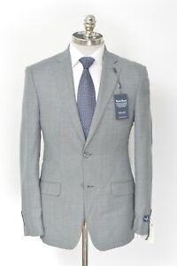 NWT PSYCHO BUNNY Sharkskin Plaid Gray Wool Notch Lapel Sport Coat 38 R (EU 48)