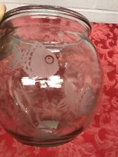 1 Gal. Etched  ROUND Clear Heavy Glass Bubble FISH BOWL Garden Terrarium Top Fin