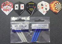 High Roller Ruthless dart flights combo. 5 pack flights, 2 sets of shafts