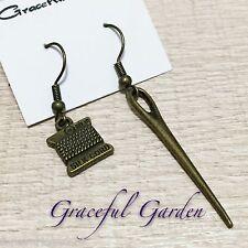 ER2835 Graceful Garden Vintage Style Sewing Silk Cord & Needle Dangle Earrings