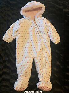 BABY GIRL PRAM SUIT SNOWSUIT PINK HEARTS FLEECE LINED-9/12 MONTHS-REMOVABLE FEET