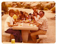 Vintage 70s PHOTO Family w/ Girls Boys At Camping Picnic Table