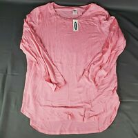 OLD NAVY Luxe Women's Crew Neck Shirt SIZE SMALL 3/4 Sleeve Lounge Stretch Pink