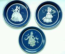 Blue Enamel Coaster Set Women's Dress Fashion History Vintage Elegant Set of 3