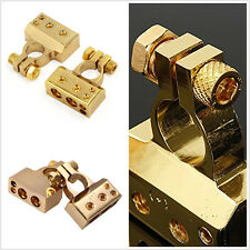 2Pcs Vehicle Gold Plated Positive Negative Battery Terminal Connector Universal