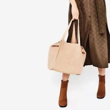 Zara Sand Beige / Nude Suede Leather Large Tote Bag BNWT