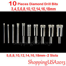 10 Pc 3-18mm Diamond Drill Bit Set Hole Saw Cutter Tool Chuck Glass Marlbe Tile*