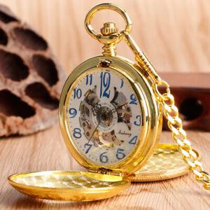 Luxury Golden Double Hunter Hand Winding Mechanical Pocket Watch Pendant Chain