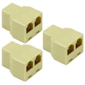 3x RJ12 6P6C Female to 2 Female Telephone Phone Line Splitter T Adapter Reverse