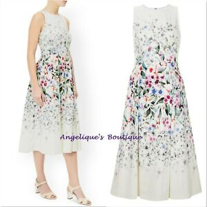MONSOON NELLIE IVORY MIX FLORAL BLOOM 50s PROM COCKTAIL VINTAGE DRESS 8-18 NEW